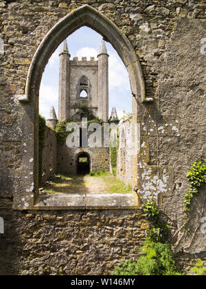 Interior of an abandoned Duhill Church in County Tipperary,Ireland. - Stock Image