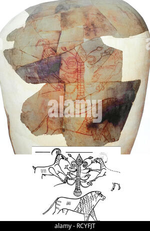 """6423. Kuntilet Ajrud, drawing on a large ceramic jar depicting a """"Tree of Life"""" , symbolizing the Goddess Asherah standing on a lion flanked by two ib - Stock Image"""