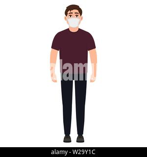 The guy in the medical bandage on the face, the person suffers from viral disease, precautionary measures during the flu epidemic, cartoon character v - Stock Image