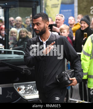 Ashley Cole of Derby arrives for the FA Cup 5th round match between Brighton & Hove Albion and Derby County at the American Express Community Stadium . 16 February 2019 - Stock Image