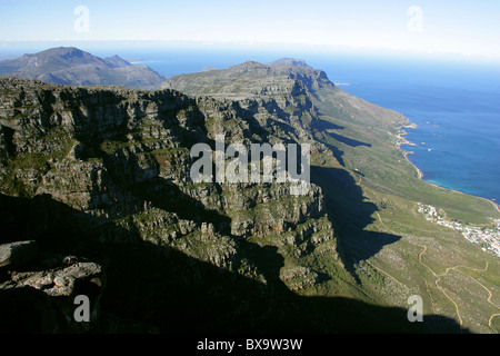 View Over Camps Bay from Table Mountain, Cape Town, Western Cape, South Africa. - Stock Image