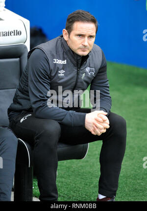 Derby manager Frank Lampard during the FA Cup 5th round match between Brighton & Hove Albion and Derby County at the American Express Community Stadium . 16 February 2019 Photograph taken by Simon Dack  Editorial use only. No merchandising. For Football images FA and Premier League restrictions apply inc. no internet/mobile usage without FAPL license - for details contact Football Dataco - Stock Image