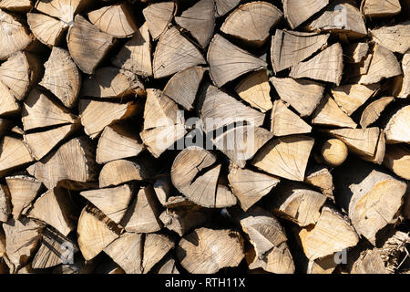 Stacked firewood during winter time for household use in Lower Austria - Stock Image
