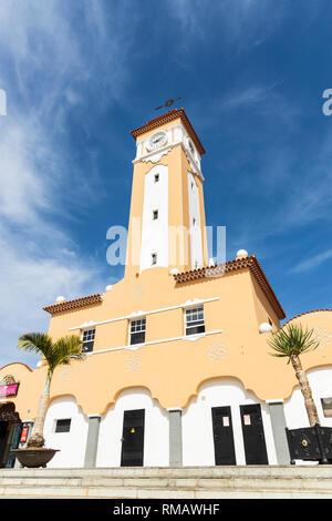 Clock tower against a blue sky in the Nuestra Senora de Africa, African market, Santa Cruz Tenerife, Canary Islands, Spain - Stock Image