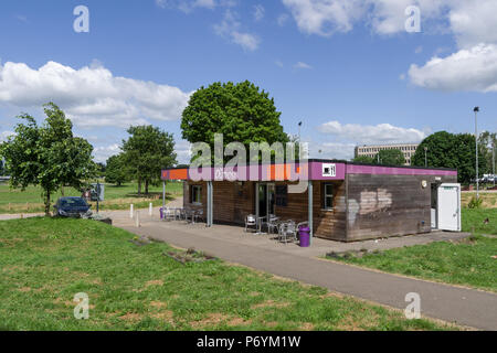 The Outpost Café, a single storey unit, adjacent to the skate-park in Midsummer Meadow, Northampton, UK - Stock Image