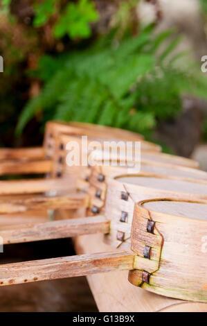 A water ladle at the purification pavilion (a chozuya or temizuya) - Stock Image