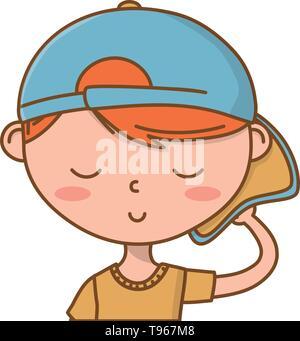 Stylish boy blushing cartoon outfit backwards cap portrait  isolated vector illustration graphic design - Stock Image