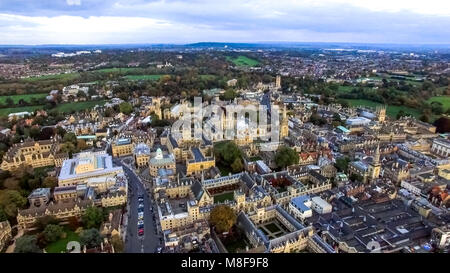 Aerial View University of Oxford Iconic Education Landmark feat. College and Campus. Flying Over around Prestigious - Stock Image