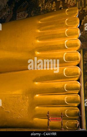 Thailand, Bangkok. Detail of Reclining Buddha feet at Wat Pho. - Stock Image