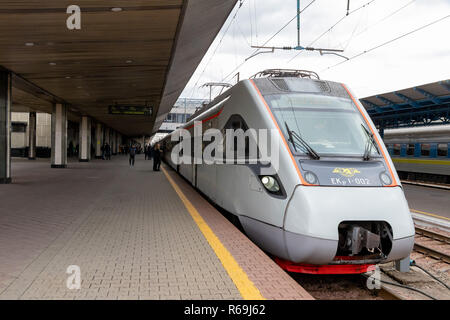 high-speed train at the station of the train station takes passengers for travel Ukraine, Kiev 20.10.2018 - Stock Image