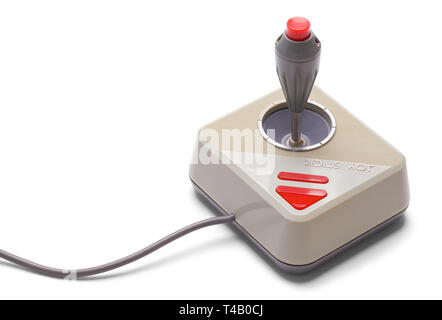 Classic Joy Stick Game Controller Isolated on White Background. - Stock Image