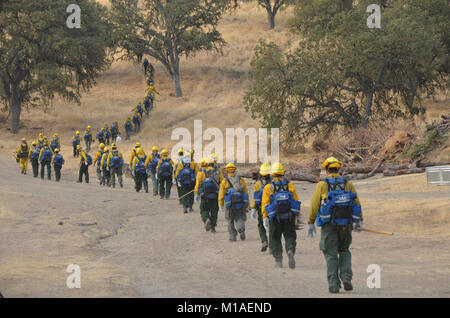 Nearly 400 California Army National Guard Soldiers from the 578th Brigade Engineer Battalion were called up to support - Stock Image