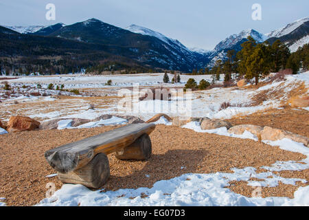 Rocky Mountain National Park, rugged terrain, Winter, snow - Stock Image