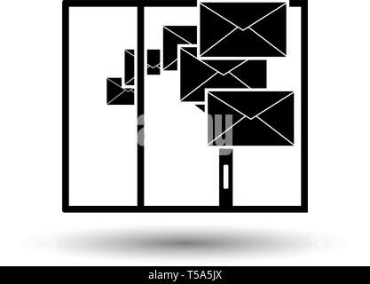 Mailing Icon. Black on White Background With Shadow. Vector Illustration. - Stock Image