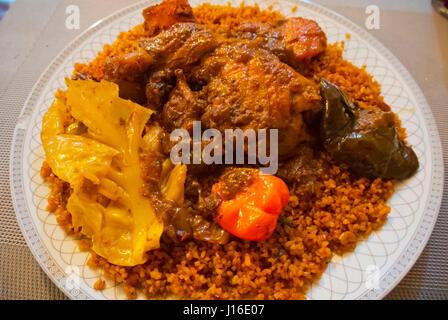 Yassa, rice and chicken, Senegalese cuisine, Medina, Casablanca, Morocco, Africa - Stock Image