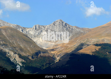 View from Monte Sibilla over the rolling mountains of the Sibillini National park Le Marche Italy - Stock Image