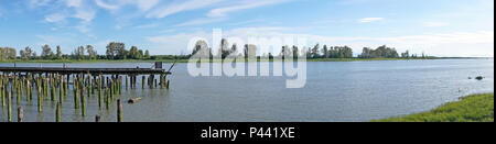 Panorama of the Fraser River and Shady Island at Steveston, Richmond, British Columbia, Canada - Stock Image