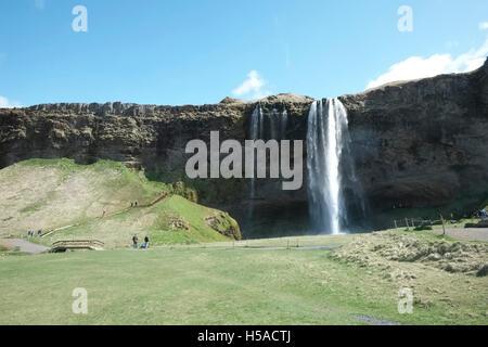 Seljalandsfoss waterfall -Southern Iceland - Stock Image