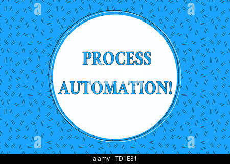 Word writing text Process Automation. Business photo showcasing Transformation Streamlined Robotic To avoid Redundancy Empty Round Circular Copy Space - Stock Image