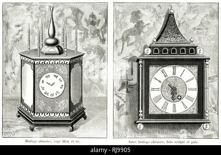 Two Chinese clocks. - Stock Image