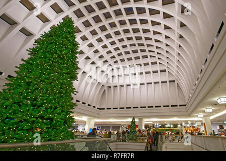 Galeria Kaufhof , Christmas Tree, Department Store , Atrium, Modern Architecture, Alexanderplatz, Berlin - Stock Image
