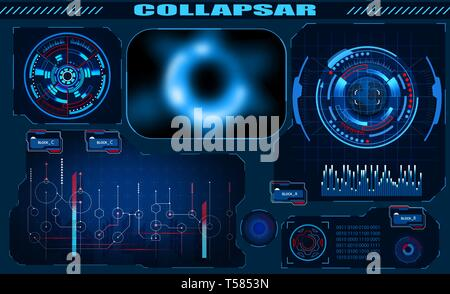 Futuristic graphic interface Black hole, total eclipse, hud design, infographic elements. Theme and science, the theme of analysis. illustration - Stock Image