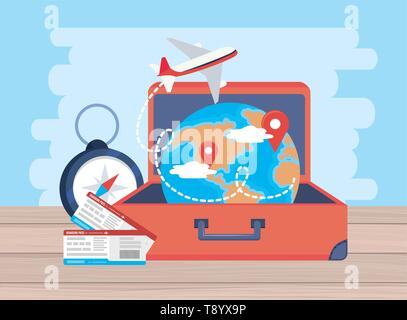 airplane with tickets and global map location inside baggage vector illustration - Stock Image