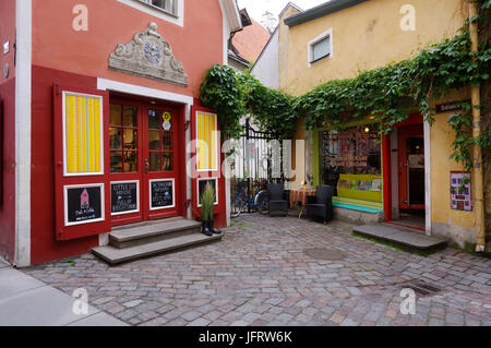 Small Shops in Saiakang street in Old Town of Tallinn, Estonia, 2th July 2017 - Stock Image