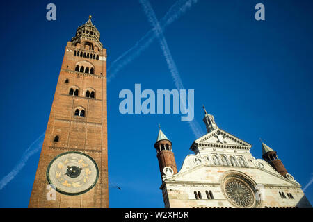 Italy, Lombardy, Cremona, The Cathedral and Torrazzo Bell Tower - Stock Image