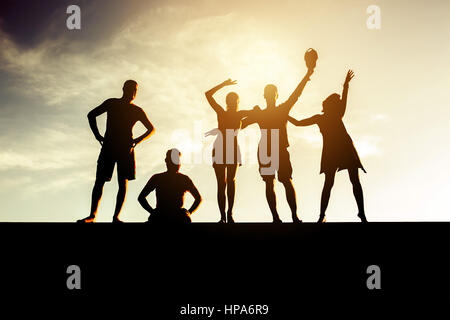 Friends concept group people silhouettes - Stock Image