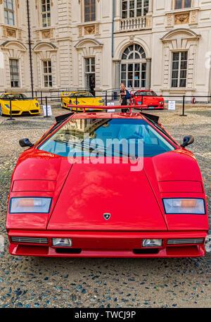 Piedmont Turin - Turin auto show 2019  - Valentino park - Valentino castle  - Lamborghini Countach - Stock Image