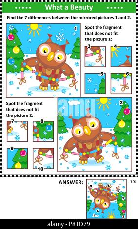New Year or Christmas visual puzzles with owl and garland. Find the differences between the mirrored pictures. Spot the wrong fragments. - Stock Image