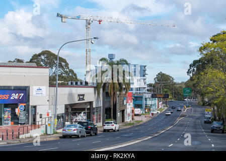 Looking north on the Pacific Highway at Gordon, New South Wales with new apartments being built particularly on the western side of the road. - Stock Image