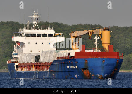 NBP Voyager at anchor on the Kiel Fjord - Stock Image