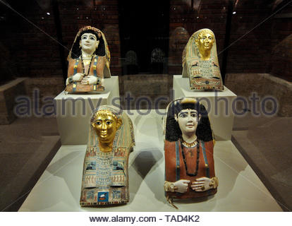 Egyptian sculptures. Altes Museum, Berlin - Stock Image