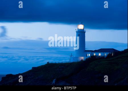 Trevose Lighthouse at Dusk, Cornwall, UK - Stock Image