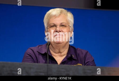 Spacecraft operations team manager for the Cassini mission at Saturn, Julie Webster is seen during a press conference - Stock Image