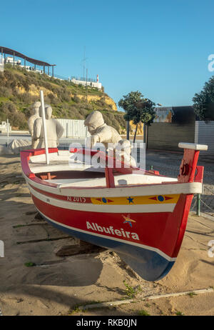 Albufeira Fishing Boat Monument Statue At Praia dos Pescadores, Fishermans Beach - Stock Image