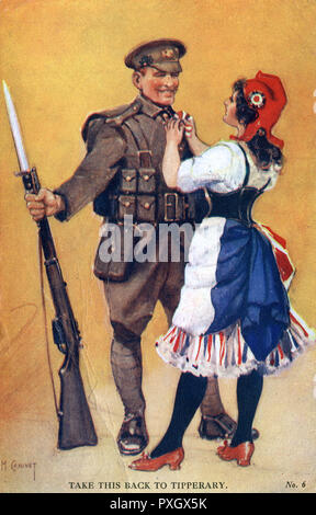 """WW1 - Marianne pins a rosette onto a British Tommy - """"Take this back to Tipperary"""".     Date: 1915 - Stock Image"""