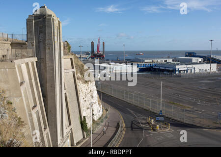Aerial landscape of the Port of Ramsgate, a closed but once busy ferry terminal, on 8th January 2019, in Ramsgate, Kent, England. The Port of Ramsgate has been identified as a 'Brexit Port' by the government of Prime Minister Theresa May, currently negotiating the UK's exit from the EU. Britain's Department of Transport has awarded to an unproven shipping company, Seaborne Freight, to provide run roll-on roll-off ferry services to the road haulage industry between Ostend and the Kent port - in the event of more likely No Deal Brexit. In the EU referendum of 2016, people in Kent voted strongly  - Stock Image