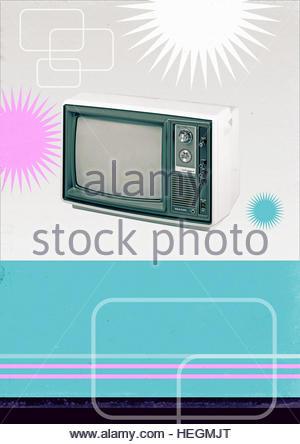 Television Advertising Style Retro Vintage photo illustration - Stock Image