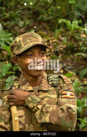 Park ranger, Bwindi Impenetrable Forest, Bwindi, Uganda, Africa - Stock Image