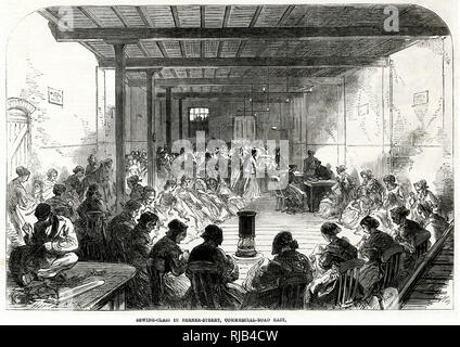 St. John's Mission district sewing classes held at American Rice Mills, Berner Street, Commericial Road, East London. Women paid twopence an hour or ninepence by Rev J. M Vaughan connections with the Central Executive Relief Committee at Mansion House. Only widows or women with husbands who are out of work were invited to the working party. - Stock Image