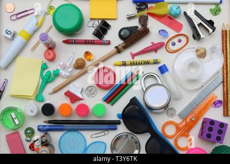 I spy game created from common household items - Stock Image