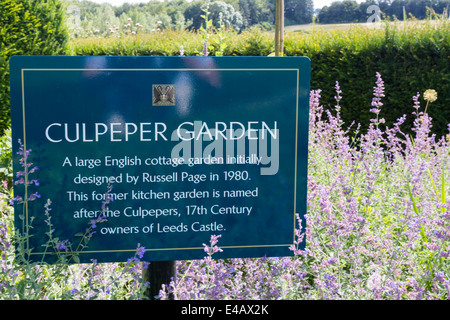 Leeds Castle Culpeper Garden Sign - Stock Image