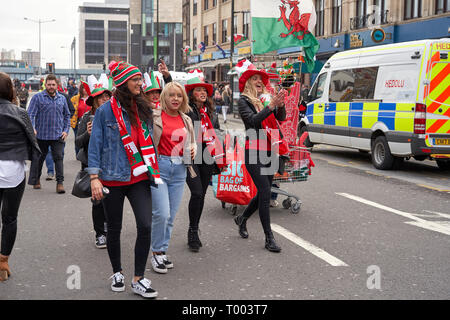 Cardiff on match day: final day of the Six Nations 2019 - Stock Image