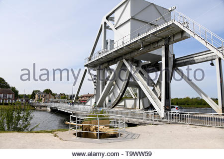 Pegasus Bridge crossing the Caen Canal, between Caen and Ouistreham, in Normandy, France - Stock Image