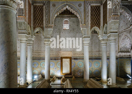 Columns in the Saadian Tombs in the Medina of Marrakech, Morocco - Stock Image