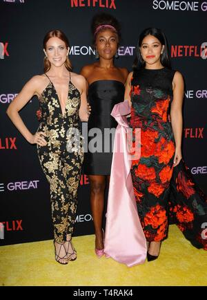 Los Angeles, CA, USA. 17th Apr, 2019. Brittany Snow, DeWanda Wise, Gina Rodriguez at arrivals for SOMEONE GREAT Premiere on NETFLIX, ArcLight Hollywood, Los Angeles, CA April 17, 2019. Credit: Elizabeth Goodenough/Everett Collection/Alamy Live News - Stock Image