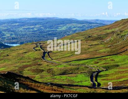 The Struggle, the road between Ambleside and Kirkstone Pass, Lake District National Park, Cumbria, England UK - Stock Image